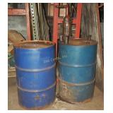 2 55 Gallon Steel Drums & Hand Crank Oil Pump