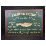 Vintage Fishing Guide Replica Advertising Sign