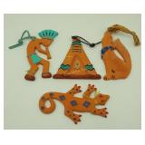"Four 5"" Brudy Arizona Crafted Indian Ornaments"