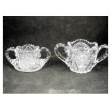 2 Vintage Pattern Pressed Clear Glass Candy Dishes