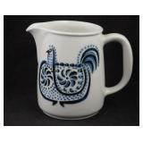 Vtg Arabia Finland Blue Rooster Pottery Pitcher