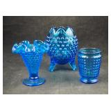 3 Assorted Small Blue Glass Hobnail Vases