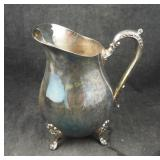 "Vintage 9"" Ornate Silverplated Water Pitcher"