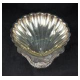 "Vintage 12"" Open Clam Shell Silver Plate Bowl"