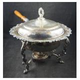 Antique Round Chafing Dish W Handle & Burner