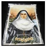 Vintage New Italian Nun Woven Tapestry Picture