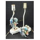 2 Vintage Hand Painted Bird Night Stand Lamps