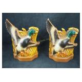 "Two 9"" Solid Ceramic Painted Mallard Duck Bookends"