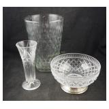 3 Pcs Vintage Clear Glass Bowl And Vases Box Lot