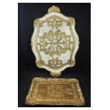 2 Vtg Engraved Gold Composite Italy Trays