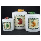 Clay Art Stonelite 3 Canister Set Painted Peppers