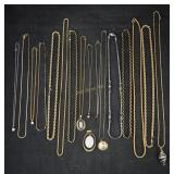 Vtg Long Assorted Costume Jewelry Necklaces & Box