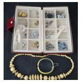 Vtg 16 Divided Jewelry Box W Costume Pieces Lot