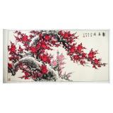 HONG MEI HUA Chinese Watercolor Painting of Prunus