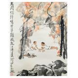 LI KERAN Watercolor Ink Hanging Scroll Buffalo