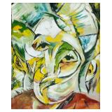 Russian Cubist Gouache Portrait Signed Bogomazov
