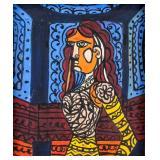 Cuban Cubist OOC Portrait Signed A. Pelaez
