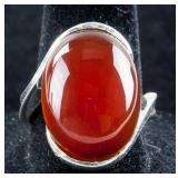 Agate Sterling Silver Ring Size 8
