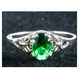 14k Gold Green Emerald Ring Size 6.5