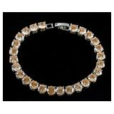 23ct Morganite Silver Tennis Bracelet