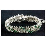 Vintage Green and White Gemstone Silver Bracelet