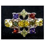 925 Sterling Silver Multi-Gem Ring Size 8.75