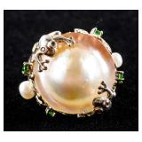 925 Silver Frog Large Pearl and Green Gem Ring