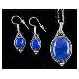 Blue Sapphire Necklace and Earrings