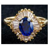 Blue Sapphire Ring Oval Cut Size 8