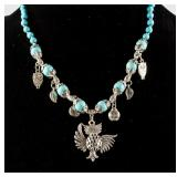 Turquoise & Silver Owl Necklace