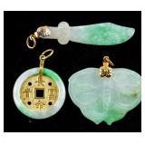 3 Assorted Burma Green Jadeite Carved Pendants