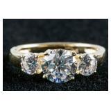 14k Gold White Three Stone Ring, Size 5