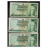 1987-1993 Scotland 1 Pound Notes 3 PC