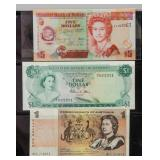 3 Assorted Belize, Bahamas and Australia Banknotes