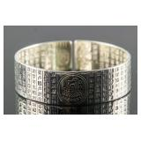 Chinese Silver Buddhist Mantra Bracelet S999 Mark