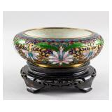 Chinese Bronze Cloisonne Bowl with Wood Stand