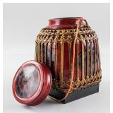 Asian Lacquer Wood Jar with Bamboo Basket
