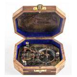 F. Cox London 1775 Sundial Compass Vintage Box