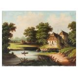 European Oil on Canvas Landscape Scene