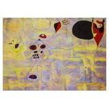 Joan Miro Spanish Surrealist Mixed Media on Canvas