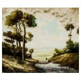 19/20th C. Oil on Canvas Pastoral Scene Unsigned