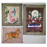 Three Assorted Silk Embroidery and Paintings