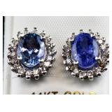 3.22ct Tanzanite & Diamond Earrings CRV $7600