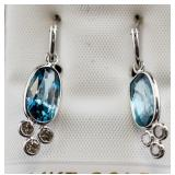 9.00ct Blue Zircon and Diamond Earrings CRV $9200