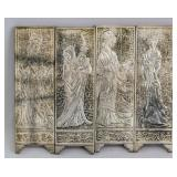 4 PC Chinese Silver-Color Metal Beauty Screen