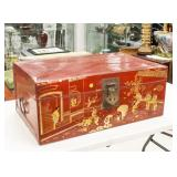 Chinese Xin Long Pu Wood Gilt Red Lacquer Box