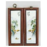 2 PC Chinese Porcelain Painting Plaque Wang Yeting