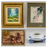 3 Assorted Decorative Paintings & 1 Porcelain