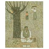 Soo Kun Korean Oil Seated Man on Canvas