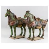 Pair of Chinese Tang Style Pottery Horse Statues